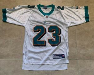 Reebok Ronnie Brown #23 Miami Dolphins Adult Mens S Small White w/ Green Jersey