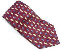 ADOLFO HOURGLASS  Neck Tie 100% Silk Dark Red Blue Gold Necktie Made in USA