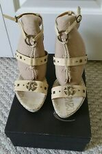 NEW JUST CAVALLI  Logo Monogram WOMEN'S SHOES Sandals US 8  IT 39 MADE IN ITALY