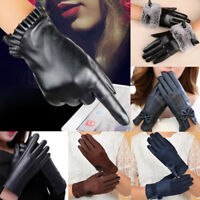 Ladies Winter Gloves PU Leather Warm Screen Touch Mittens Driving Gloves AU