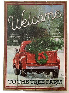 Wooden Red Truck Welcome To The Tree Farm Sign Yard Stake