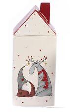 Paben Noel Biscottiera Natalizia Casetta con Decorazione Gnomo Renna in ceramica