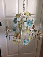 Vintage Italian Toleware Metal Tole Floral Chandelier
