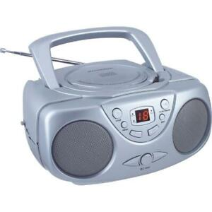 Sylvania SRCD243 Portable CD Player with AM/FM Radio Silver Boombox
