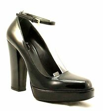 PRADA Black Patent Leather Platform High Heel Ankle Strap Pumps sz 39.5 New