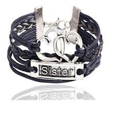 Infinity Schwester Sister Armband Schwarz Silber Leder Herz Familie Flecht