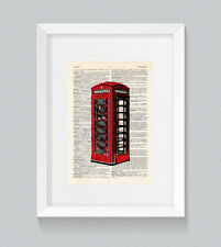 Rosso CABINA TELEFONICA LONDON UK Libro Vintage Dizionario Stampa Wall Art