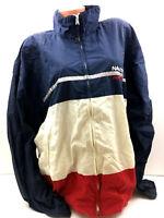 Vtg 90s Nautica Competition Mens Jacket Windbreaker Color Block Flag Spellout XL