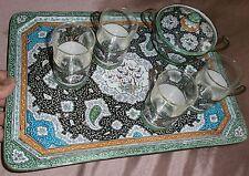 Service à thé oriental en laiton peinture émaillé  Plateau Sucrier 4 porte verre