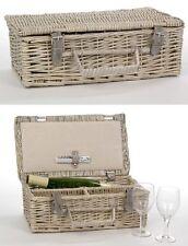 Set à vin vannerie panier saule 2 verres + ustensiles