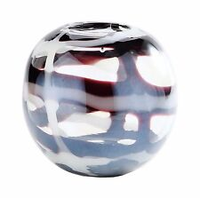 "New 6"" Hand Blown Glass Art Vase Bowl Brown White Clear Decorative"