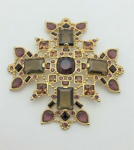 ESTATE Vtg SWAN Logo SWAROVSKI Crystal Golden MALTESE Cross BROOCH Pin Signed