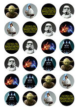 24 Star Wars Darth Vader 4cm round cupcake cake edible images toppers