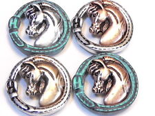 4 - 2 HOLE SLIDER BEADS HORSE HEAD STITCHED BUCKLE MIXED METALS & COPPER PATINA