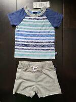 Splendid Infant Baby Boy Twilight Blue T-Shirt and Shorts Set Sz 6-12 M NWT $38