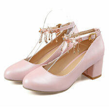 Ladies white pink blue pu leather block heels ankle pumps dress shoes size 2.5-6