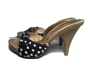 Vintage 1980s Candies Style Sandals High Heels Slides Sexy Black White Polka Dot