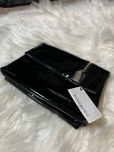 NWT YSL Beaute Black Patent Leather Makeup Clutch