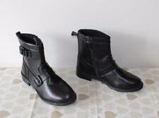 Black Leather Zip Buckle Side Low Heel Biker Winter Ankle Boots Size 3 /36 Pixie