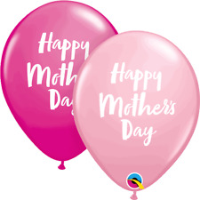 """25 x Happy Mother's Day Script Assorted Pink & Wild Berry 11"""" Latex Balloons"""