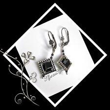 Stunning Hematite Gemstone Cube Earrings...Leverbacks ...Silver / Graphite Grey