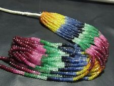 "Festival 100% Natural Precious Multi Sapphire Roundel Faceted Beads 13"" 1 Strand"