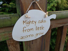 """Engraved wooden hanging plaque - """"Mighty oaks from little acorns grow"""" New Baby"""
