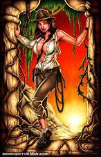 ADVENTURE Sexy Indiana Jones Temple of Doom 11x17 Pinup Art Print Garrett Blair