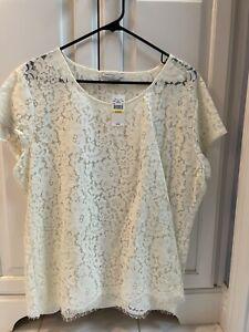 Van Heusen Ivory / Cream Lace Blouse Size XL.  NWT