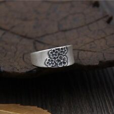 990 Sterling Silver Ring Women Men Special Plum Blossom Band Ring US:8.5 S990