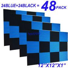 48Pack 1x12x12 BLUE BLACK Acoustic Panels Studio Soundproofing Foam Wedge tiles