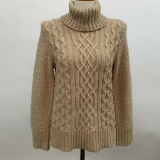 Eddie Bauer Womens Sweater Medium Beige Cable Turtleneck Lambswool