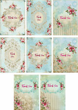 Vintage inspired Thank You pink roses small note cards set of 8 with envelopes