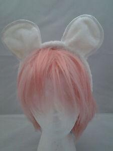 Furry Cat Mouse Dog EARS Black Brown or White  Animal Ears Headband