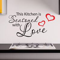 THIS KITCHEN IS SEASONED WITH LOVE WALL STICKER vinyl art decal quote w128