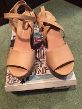 JEFFREY CAMPBELL FUENTES NATURAL SHEEP PLATFORMS SIZE 8 WITH BOX