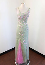 Jovani Green Pink Iridescent Floral Embroidered Evening Dress Formal Sz 2 Sequin