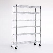"Adjustable 6 Tier 82""x48""x18"" Chrome Wire Shelving Rack Heavy Duty Steel Shelf"