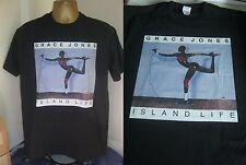 GRACE JONES-ISLAND LIFE -EXCELLENT 1985 ALBUM (CD)  PRINT T SHIRT-BLACK- X LARGE