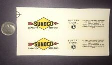 Lionel #2465 Sunoco Black Arrows W/ Letters Two Dome Tank Car Waterslide Decals