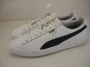 Mens 11.5 Puma Clyde Core Foil White 364669-01 Leather Shoes Sneakers Black Gold