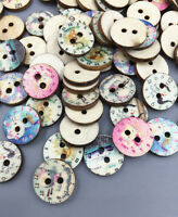 50-100X Retro clock Mixed pattern Wooden buttons Fit sewing or scrapbooking 15mm