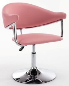 BLUSH PINK DESIGNER PADDED LEATHER STYLE CHAIR BEAUTY HAIRDRESSER SALON CHAIR