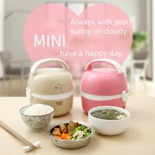 Electric Portable 1.3L Lunch Box Rice Cooker Steamer 2 Layer Stainless Steel