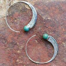 Vintage Silver Turquoise Capricorn Hoop Earrings Wedding Engagement Jewelry