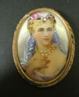 Antique Limoges France French Porcelain Portrait Oval Plaque Woman Pin / Brooch