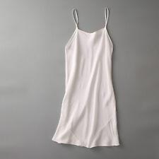 Lady 100% Silk Full Slip Under Dress Strap Long Vest Chemise Petticoat Sleep New