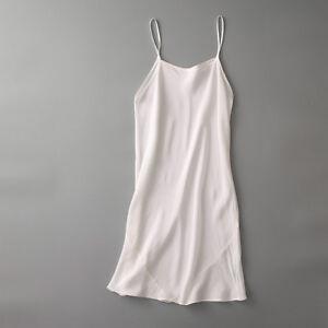 Ladies 100% Silk Full Slip Under Dress Strap Long Vest Chemise Petticoat Nightie