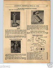 1936 PAPER AD 3 PG Electric Cocktail Mixer Soda King Sparklet Syphons Shaker