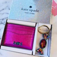 Kate Spade Candy Shop Key Fob & Metallic Card Holder Set Pink Novelty Gift Box